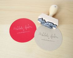 "Mini Business Card Stamp - Custom 2"" Business Card or Etsy Shop Stamp for business cards and shop packaging. $39.00, via Etsy."