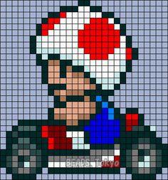 Toad - Mario Kart Perler Bead Pattern - BEADS.Tokyo