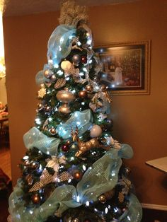 Blue, silver, and brown Christmas tree