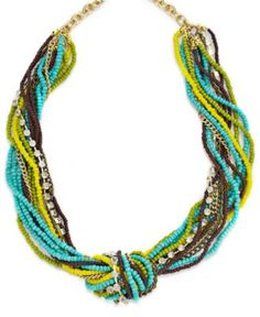 INC International Concepts Necklace, 12k Gold-Plated Blue Seed Bead and Rhinestone Torsade Necklace - All Fashion Jewelry - Jewelry & Watches - Macy's