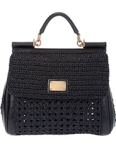 Dolce & Gabbana Miss Sicily Bag in Black - Lyst Dolce And Gabbana Handbags, Dolce & Gabbana, Crochet Handbags, Crochet Purses, Diy Handbag, Handmade Purses, Purse Styles, Knitting Accessories, Branded Bags
