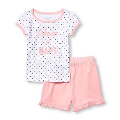 Baby Girls Baby And Toddler Short Sleeve 'Queen Of Naps' Heart Print Top And French Terry Shorts Pj Set - Pink - The Children's Place