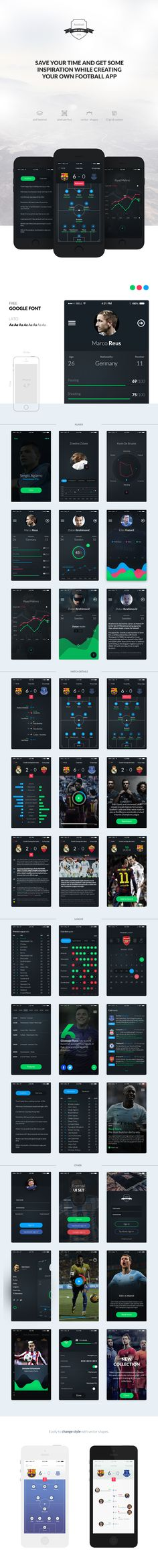 Football APP UI set contains a lot of high quality screens (1334x755px) For iOS. Save your time and get some inspiration while creating your own football mobile apps. The kit was built on a 12 columns grid system, in base on shapes, easy to customization.…