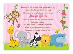 fOUND ON eTSY  Jungle Friends Girl Shower or by CherishedTimes https://www.etsy.com/listing/109426600/jungle-friends-girl-or-boy-baby-shower?ref=sr_gallery_12&ga_search_query=baby+shower&ga_ship_to=US&ga_ref=auto1&ga_page=6&ga_search_type=all&ga_view_type=gallery