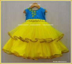 Angalakruthi-Custom designer boutique in Bangalore We. Frocks For Girls, Dresses Kids Girl, Kids Outfits, Kids Frocks Design, Baby Frocks Designs, Kids Dress Wear, Kids Gown, Baby Frocks Party Wear, Mom Daughter Matching Dresses