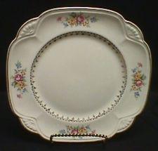 Homer Laughlin China Marigold Cabbage Rose Square Salad Plates