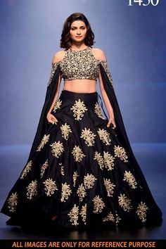 Online Shopping of Prachi Desai Black Color Replica Lehenga Choli in Silk Fabric from SareesBazaar, leading online ethnic clothing store  offering  latest collection of sarees, salwar suits, lehengas & kurtis