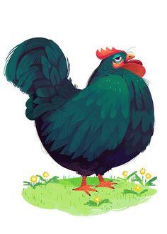 """""""Chickens!"""" by Kim Smith*   • Blog/Website   (www.kimdraws.tumblr.com)  • Online Store   (www.kimprints.bigcartel.com)   ★   """