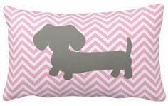 Nursery pillow from The Smoothe Store's pink & gray dachshund nursery collection.