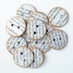 DIY with books and book pages, so cute! I like these buttons most of all, but really, I like a lot of them :D: