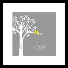 Wedding Gift Bridal Shower Gift Paper First Anniversary Gift Personalized Custom Love Birds Wedding Tree - Square (Yellow/Gray) Love Birds Wedding, Tree Wedding, 1st Anniversary Gifts, Custom Wedding Gifts, Bridal Shower Gifts, Bird Prints, Paper Gifts, Wedding Photos, Wedding Ideas