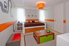 Simple Daybed Near Brown Mattress Inside Kids Room Adopting Contemporary Kids Furniture Along With Orange Drum Pendant