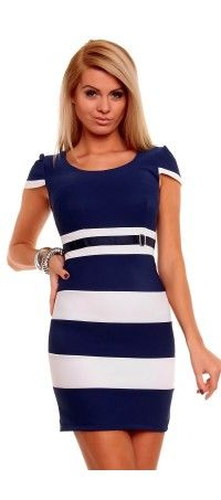 Blue dress with white stripes