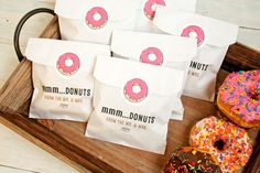 Wedding Favor  - Donut Bag and Sticker - Wax Lined Favor Bag - 25 White Favor Bags and Stickers included