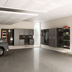 This garage is what dreams are made of. We all know that garage organization is non existing in most homes however taking the first step of organizing and de-cluttering is the best way to get started. Garage House, Garage Game Rooms, Car Garage, Garage Office, Garage Shop, Garage Doors, Garage Furniture, Garage Interior, Garage Storage Cabinets