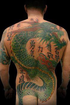tatuaggio dragone verde 40cover- up41, 2007-2008