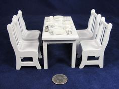 Vintage 1:12 Dollhouse Miniature White Dining Table Chairs Wood Plates Flatware #Unbranded