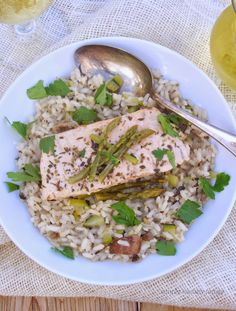 Poached Salmon with Spring Arborio Rice Pilaf  {How to cook Arborio as a table rice instead of Risotto}  from Simply Healthy Family