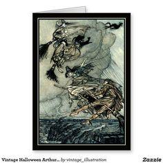 Vintage Halloween Arthur Rackham Flying Witches Greeting Card - It's batty inside!