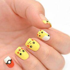 Crazy Nail Art, Crazy Nails, Cute Nail Art, Cute Acrylic Nails, Manicure Nail Designs, Nail Manicure, Nail Art Designs, Pikachu Nails, Pikachu Pikachu