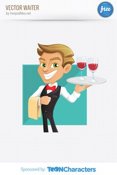 Free Vector Waiter (2.66 MB) | vectorcharacters.net