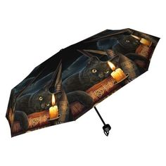 The Witching Hour is a classic Lisa Parker design. This Umbrella features a witches Black Cat laid over her Book of Shadows whilst gazing into the flame of a candle. A great new product from Nemesis Now this Umbrella will fit neatly into your pocket or handbag. Perfect for those rainy days. Product Number B2478G6 #thewitchinghour #lisaparker #umbrella #cat #pagan #wiccan