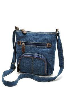 Bolso cruzado de mezclilla azul - #azul #bolso #cruzado #de #mezclilla