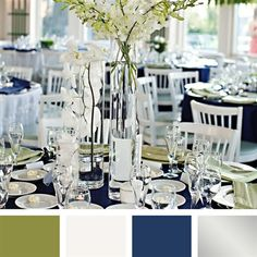Olive, White, Navy and Silver Color Palette...pretty... Orchid Centerpieces, Silver Centerpiece, Wedding Centerpieces, Wedding Table, Wedding Decorations, Room Decorations, Table Centerpieces, Wedding Color Combinations, Wedding Color Schemes