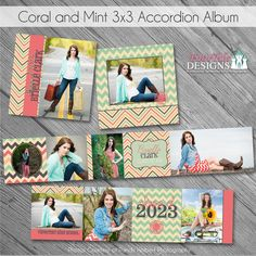 Coral and Mint Accordion Album - Custom photoshop design templates for Photographer