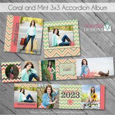 Coral and Mint Accordion Album - Custom photoshop design templates for Photographer Graduation Album, Digital Photo Album, Graduation Templates, Leather Photo Albums, Girls Album, How To Show Love, Photoshop Design, Mini Books, Custom Posters