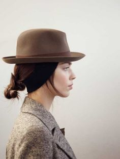 topped. Brown hat