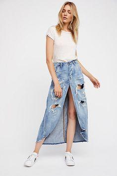 Slide View 1: Distressed To Impress Denim Skirt