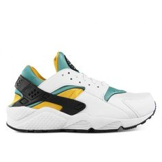 Nike Air Huarache OG QS white/sport turquoise-university gold... ❤ liked on Polyvore featuring shoes and sneakers