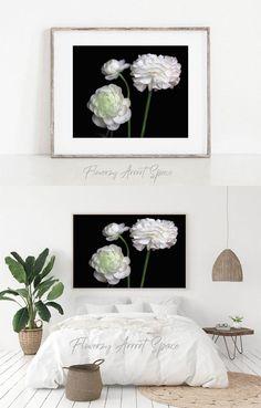 Floral Bedroom Decor, White Ranunculus, Baby Nursery Decor, Wall Decor, Wall Art, Living Room Art, White Flowers, Decorative Items, Art Photography