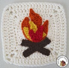 Woodland Themed Afghan New Campfire Applique - free crochet pattern at The Rusted Pansy.