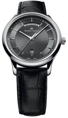Maurice Lacroix Watch Les Classiques Day Date #bezel-fixed #bracelet-strap-alligator #brand-maurice-lacroix #case-material-steel #case-width-38mm #date-yes #day-yes #delivery-timescale-4-7-days #dial-colour-black #gender-mens #luxury #movement-quartz-battery #official-stockist-for-maurice-lacroix-watches #packaging-maurice-lacroix-watch-packaging #style-dress #subcat-les-classiques #supplier-model-no-lc1227-ss001-330 #warranty-maurice-lacroix-official-2-year-guarantee #water-resistant-30m