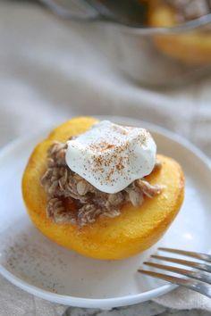 Inside-Out Breakfast Peach Cobbler, topped w/ a scoop of Greek yogurt (@Lauren Davison's Latest)