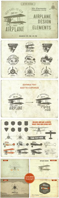 Airplane Badges & Design Elements Template PSD, Vector EPS, AI #design Download: http://graphicriver.net/item/airplane-badges-design-elements/14504677?ref=ksioks