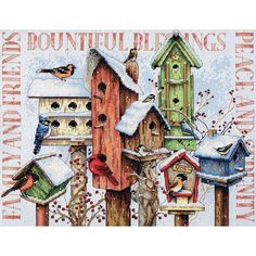 """Winter Housing Counted Cross Stitch Kit-18""""X15"""" 14 Count"""