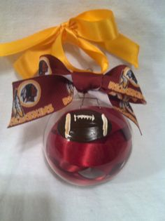 Hand painted glass ornament, skins Ornament, Football Ornament