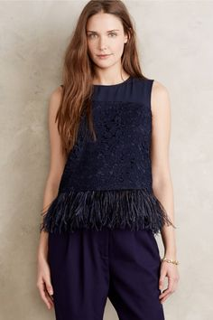 Amity Feathered Fringe Top - anthropologie.com