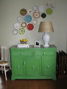 West Furniture Revival: REVIVAL MONDAY #71 - Love the plate arrangement around the lamp
