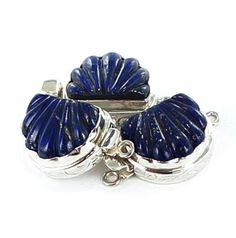 Lapis Clasp Sterling Silver Shell Large