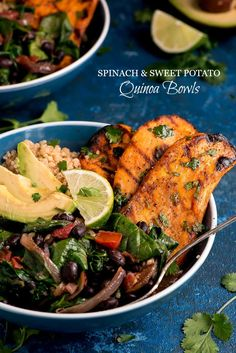 Spinach and Sweet Potato Quinoa Bowls are a flavor packed meatless meal that comes together quickly for a healthy weeknight meal.