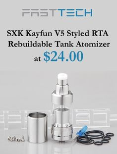 You can get SXK Kayfun V5 Styled RTA Rebuildable TAnk Atomizer at just $24.00 only FastTech store.  For more FastTech Coupon Codes visit: http://www.couponcutcode.com/stores/fasttech_coupon_codes/