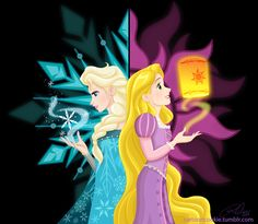 """Elsa Rapunzel by RaCookie """"Both of them are princesses born with special gifts. Kind of a yin yang picture. Snow vs the Sun. Frozen And Tangled, Disney Tangled, Disney Magic, Disney Frozen, Frozen 2, Disney Princess Art, Disney Fan Art, Cute Disney, Disney Girls"""