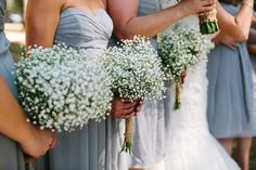 Babies breath wedding bouquets...I really   love this idea! Beautiful and inexpensive.