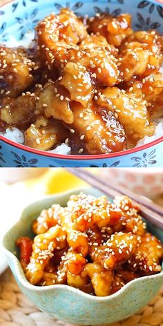 Sesame Chicken - crispy chicken with sweet, savory sauce with lots of sesame see. Sesame Chicken - crispy chicken with sweet, savory sauce with lots of sesame seeds. This recipe is better than Chine Good Food, Yummy Food, Yummy Healthy Recipes, Healthy Food Recipes, Celiac Recipes, Tasty, Healthy Food Options, Asian Cooking, Easy Cooking