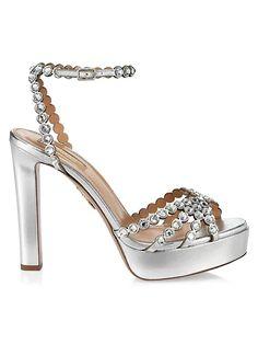 Aquazzura Tequila Crystal-Embellished Metallic Leather Platform Sandals | SaksFifthAvenue