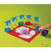 this is genius! Water spray bottle painting w/stencils, great for working those fine motor skills